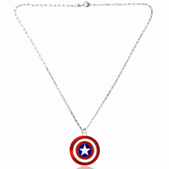 Captain America Fashionable Pendant Necklace (Silver/ Red) - 2