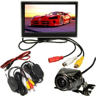 Car 5? LCD Monitor IR Wireless Rear View Backup Camera Reversing Waterproof Kit