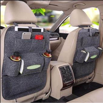 Car Auto Seat Back Multi-Pocket Storage Bag Organizer Holder HangerAccessory Set of 2 - Dark Grey