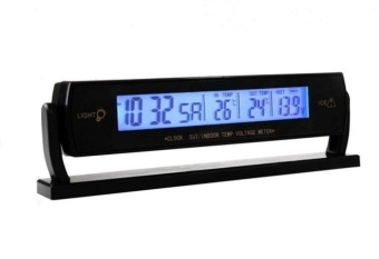 Car Clock Voltage Digital LCD Car Temperature Thermometer AlarmClock,Black - intl