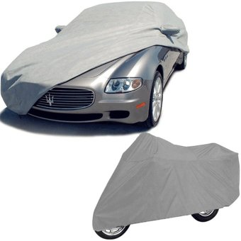 Car Cover With Motorcycle Cover Medium (Gray)