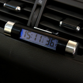 Car Dash Air Vent Digital LCD Green Backlight Clip-on ClockThermometer Calendar - intl