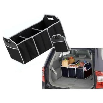 Car Organizer Boot Stuff Food Storage Bags trunk Organizer Automobile Stowing Tidying Interior Accessories Folding Collapsible (Black)