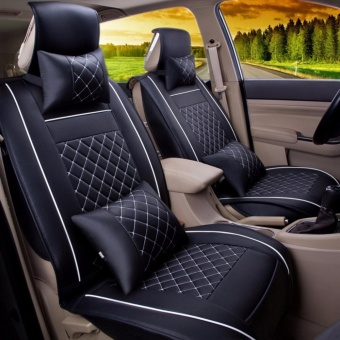 Car Seat Covers Set PU Leather,Universal Auto Seat 5 Covers Full Set Bucket Anti-Slip,Black and White Size M - intl