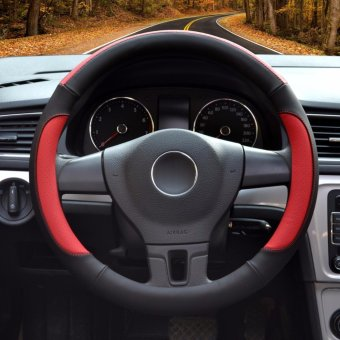 Car Steering Wheel Covers,Diameter 14 inch,PU Leather,for Full Seasons,black and red-S - intl