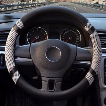 Car Steering Wheel Covers,Diameter 15 inch,PU Leather,for Summer,grey S - intl
