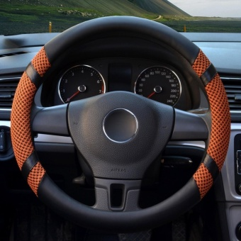 Car Steering Wheel Covers,Diameter 15 inch,PU Leather,for Summer,yellow-Size M-intl