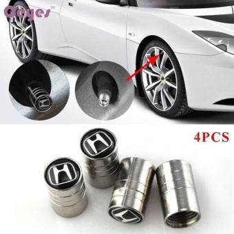 Car styling Car Wheel Tire Valves Tyre Stem Air Caps Cover case forHonda Civic Crv Accord Emblem Auto accessories Stainless steel4pcs/set - intl