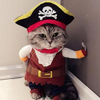 Caribbean Pirate Pet Dog Cat Clothes Costume Suit Funny ApparelClothing with Hat S - intl
