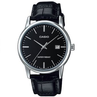 Casio Analog Mens Leather Black Strap Watch MTP-V002L-1A