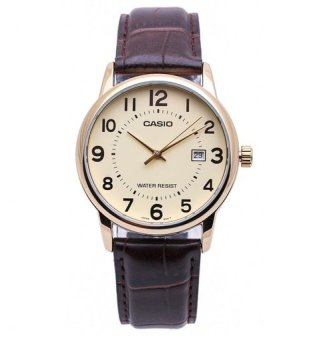 Casio Analog Mens Leather Strap Watch MTP-V002GL-9BUDF