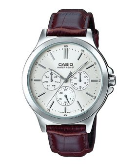 Casio Brown Genuine Leather Strap Men'S Watch Mtp-V300L-7A
