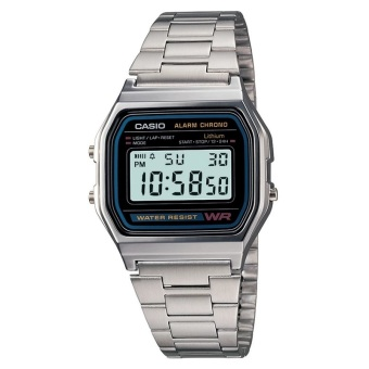 Casio Chrono Men's Silver Dial Stainless Steel Strap Watch A158WA-1DF (DP)