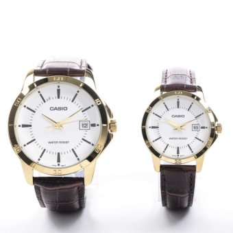Casio Couple Brown Leather Strap Watch MTP/LTP-V004GL-7AUDF
