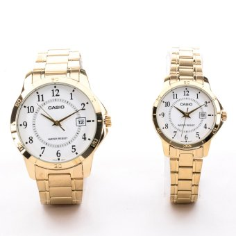 Casio Couple Pair Gold Stainless Steel Strap WatchMTP/LTP-V004G-7BUDF