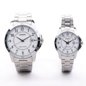 Casio Couple Pair Silver Stainless Steel Strap WatchMTP/LTP-V004D-7BUDF