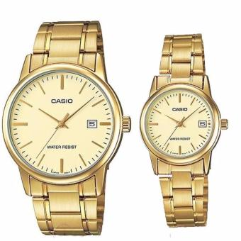 Casio Couple Pair STainless Steel Gold Watch V002G-9A