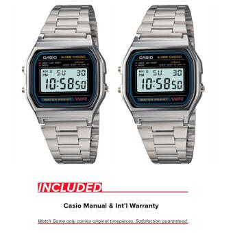 Casio Couples Unisex Silver Stainless Steel Strap Watch A158WA-1DF & A158WA-1DF (Silver) *NEW*