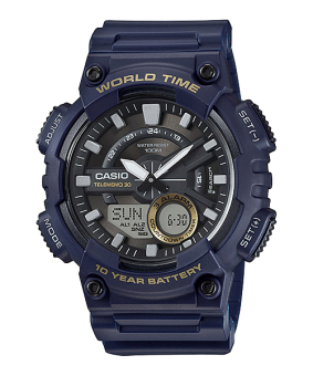 Casio Dark Blue Rubber Strap Men'S Watch Aeq-110W-2Avdf