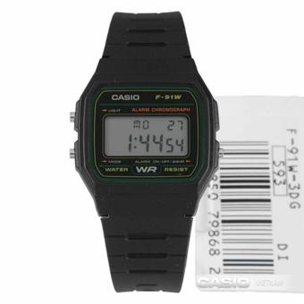 CASIO Digital Sports Rubber Unisex Watch F-91W-3sdg- Black