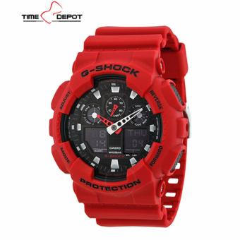 Casio G-Shock Men's Red Resin Strap Watch GA-100B-4A