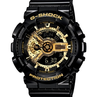 Casio G-Shock Men's Black/Gold Dial Resin Strap Watch - GA-110GB-1