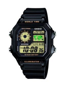 Casio Illuminator Youth Digital Black Ruuber Strap Watch AE-1200W-1BVDF