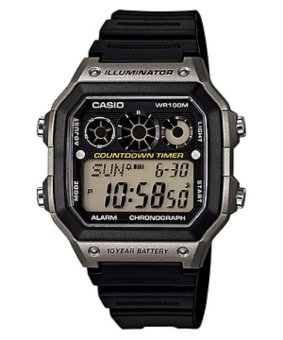 Casio Illuminator Youth Digital Black/Silver Resin Strap Watch AE-1300W-8AVDF