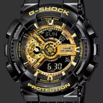Casio Men's Black/Gold Dial Resin Strap Watch - GA-110GB-1