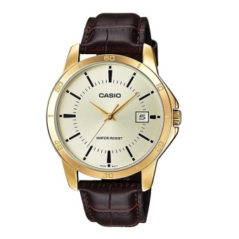 Casio Men's Brown Leather Strap Watch MTP-V004GL-7A - picture 1