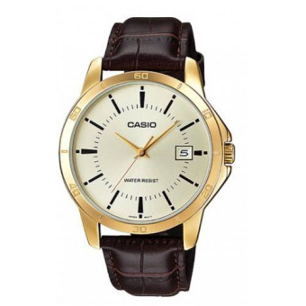 Casio Men's Brown Leather Strap Watch MTP-V004GL-9AUDF