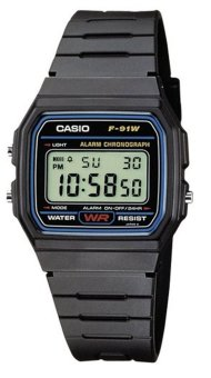 CASIO Unisex Black Resin Strap Watch F-91W-1DG