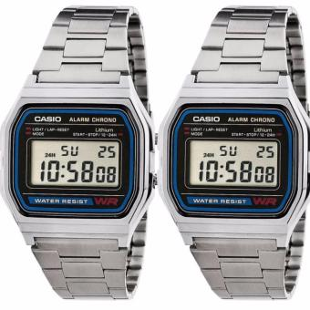 CASIO Vintage Couple Silver Stainless Steel Strap Watch A158WA-1DF/A158WA-1DF
