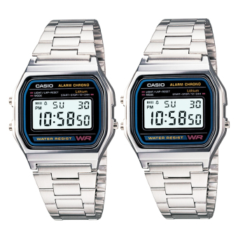 CASIO Vintage Couple Watch Silver Stainless Steel Strap A158WA-1D&A158WA-1D-COUPLE