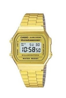 Casio Vintage Series Unisex Gold Tone Plated Stainless Steel Strap Watch A168WG-9W with 1 Year Warranty (T1Y)