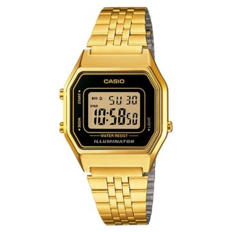 Casio Vintage Women's Gold Stainless Steel Strap Black Face Ladies Watch LA680WGA-1D