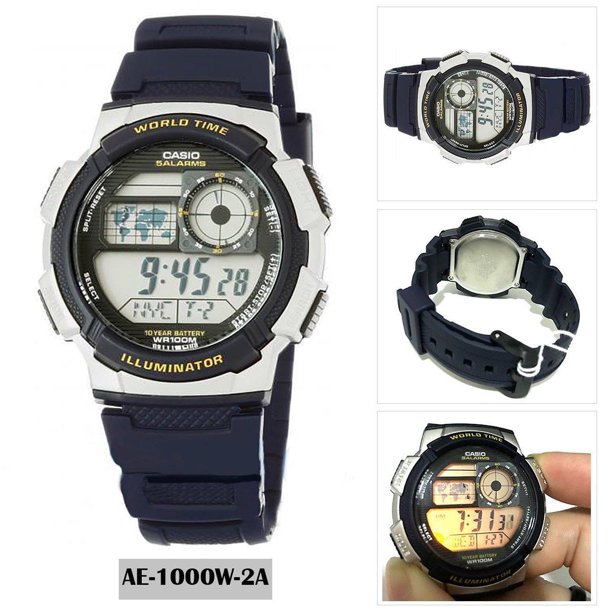 Casio Watch Youth Black Resin Case Strap Mens Nwt Warranty Ae World Time 1000w 1a Original Blue