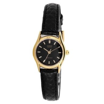 Casio Womens Black Leather Strap Watch LTP-1094Q-1ARDF
