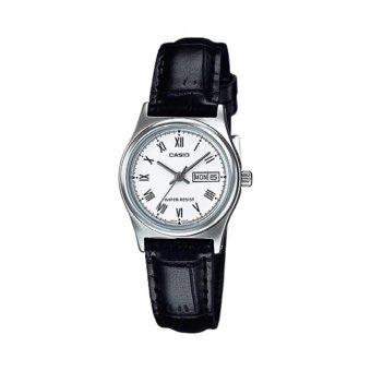 Casio Women's Black Leather Strap Watch White Dial Ladies Watch,LTP-V006L-7BUDF