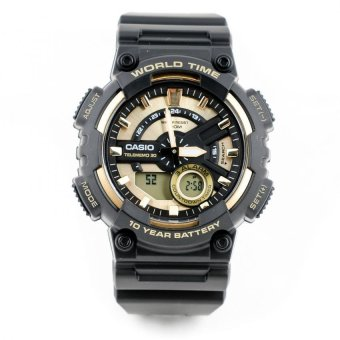 Casio World Time Analog Digital Watch-Gold Dial AEQ-110