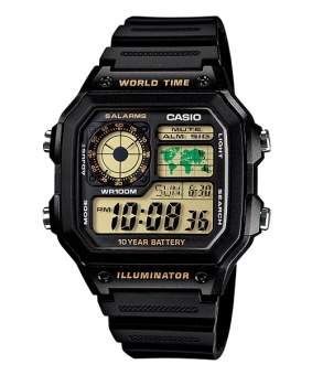 Casio Youth Men's Black Resin Strap Watch AE-1200WH-1B with 1 Year Warranty (T1Y)