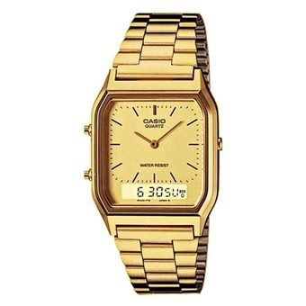 Casio Youth Men's Gold Tone Plated Stainless Steel Strap Watch AQ-230GA-9D with 1 Year Warranty (T1Y)