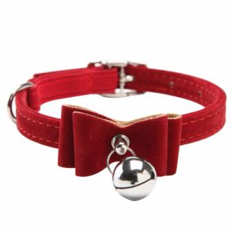 Cat Pet Collar Kitten Velvet Bow Tie Neck Safety Bowtie with Bell(red) - intl