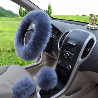 Charm Warm Wool Plush Car Steering Wheel Cover Car Handbrake SetGear Sets of Car Fluffy Three-piece - intl