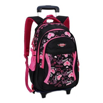 Children Trolley School Bag Backpack Wheeled School Bag For Grils Kids Wheel Schoolbag Student Backpacks Bags-black - intl
