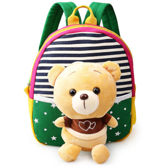 Children's school bags for boys and girls in kindergarten kids 1-3years baby bag cute backpack Green Bear Price Philippines