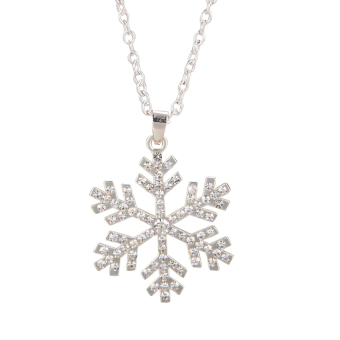 Christmas Rhinestone Snowflake Necklace Pendants Chain Long Necklace