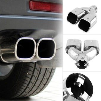 Chrome Stainless Steel Car Rear Dual Exhaust Pipe Tail Muffler Tip- intl