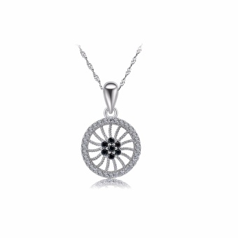 Circle Flower Pendant 925 sterling silver pendant with chain