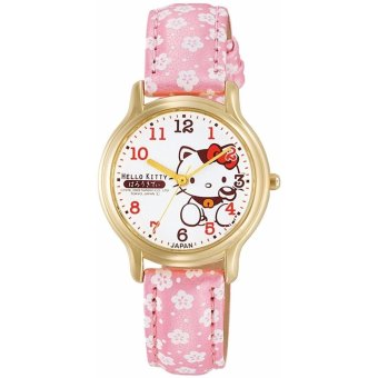 CITIZEN Q & Q Watch Hello Kitty Analog Leather Belt Made in Japan x Flower Pattern Pink 0007N003 Women's - intl